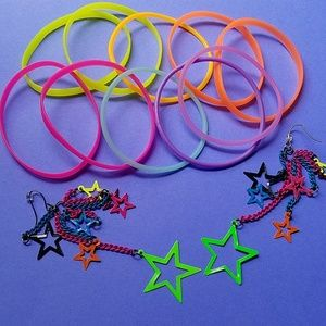 80s neon costume jewelry acces bracelets earrings